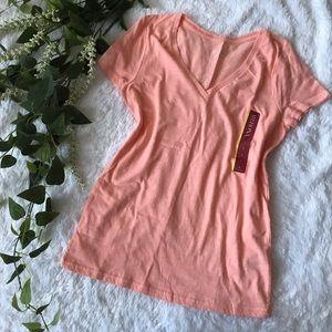 [merona] peach v neck short sleeve tee